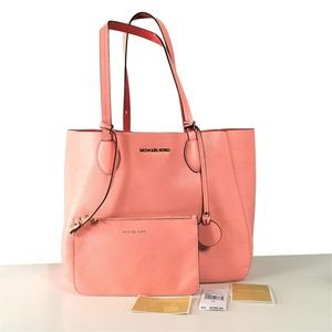 Michael Kors MAE  Pink Coral Pebbled leather Tote